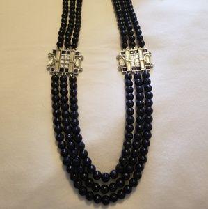 Lia Sophia Lens Flare Navy 3-strand necklace